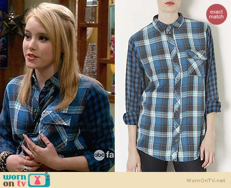 Topshop Blue Oversized Checked Shirt worn by Taylor Sprietler on Melissa & Joey