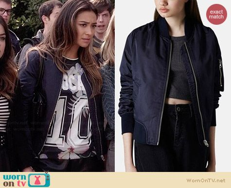 Topshop Boris Bomber Jacket worn by Shay Mitchell on PLL