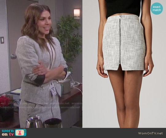 Topshop Boucle Zip Pelmet Skirt worn by Abigail Deveraux on Days of our Lives