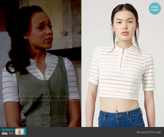 Topshop Burnout Striped Crop Top worn by Reign Edwards on The Bold & the Beautiful