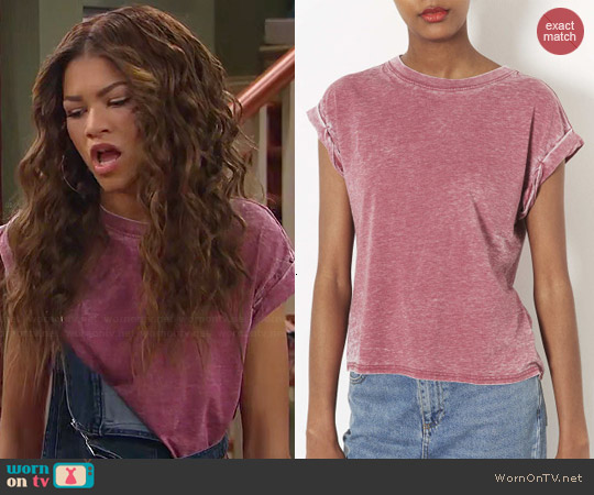 Topshop Burnout Tee in Berry worn by Zendaya on KC Undercover