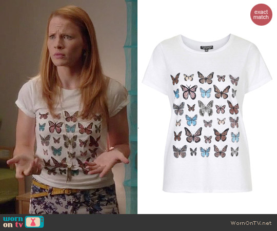 Topshop Butterfly Tee worn by Katie Leclerc on Switched at Birth