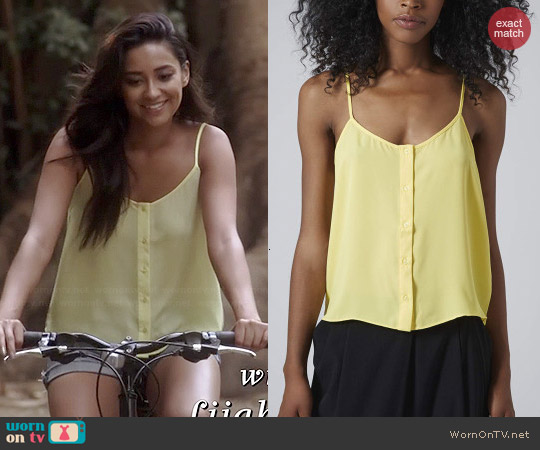 Topshop Button Front Strappy Cami in Yellow worn by Shay Mitchell on PLL