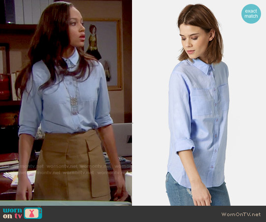 Topshop Button Front Chambray Shirt worn by Reign Edwards on The Bold & the Beautiful
