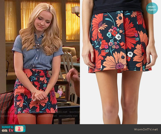 Topshop Button Front Floral Skirt worn by Dove Cameron on Liv & Maddie
