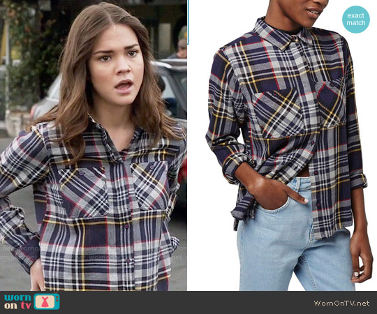 Topshop Charlie Plaid Shirt worn by Maia Mitchell on The Fosters