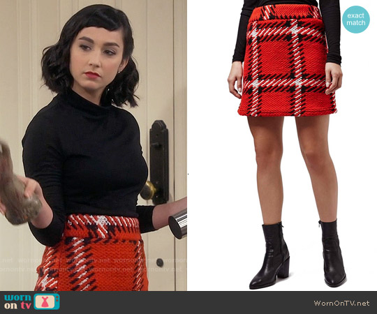 Topshop Check High Rise Skirt worn by  Molly Ephraim on Last Man Standing