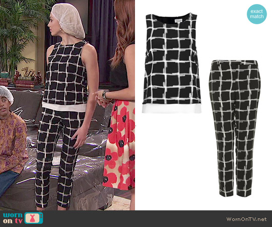 Topshop Check Print Sleeveless Top and Cigarette Pants worn by Peyton List on Jessie