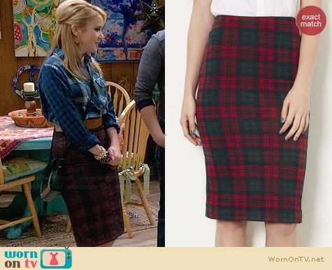 Topshop Checked Tube Skirt worn by Taylor Sprietler on Melissa & Joey