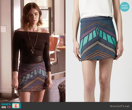 Topshop Chevron Print A-Line Skirt worn by Lucy Hale on PLL