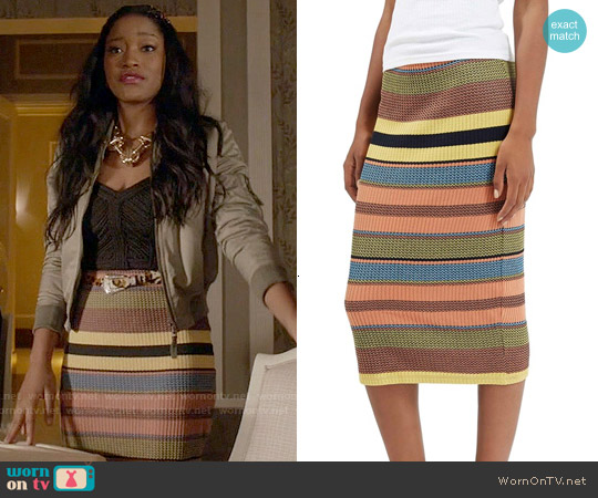 Topshop Chevron Striped Ribbed Skirt worn by Keke Palmer on Scream Queens