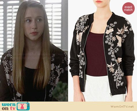 Topshop Chinoiserie Embroidered Bomber Jacket worn by Taissa Farmiga on AHS Coven