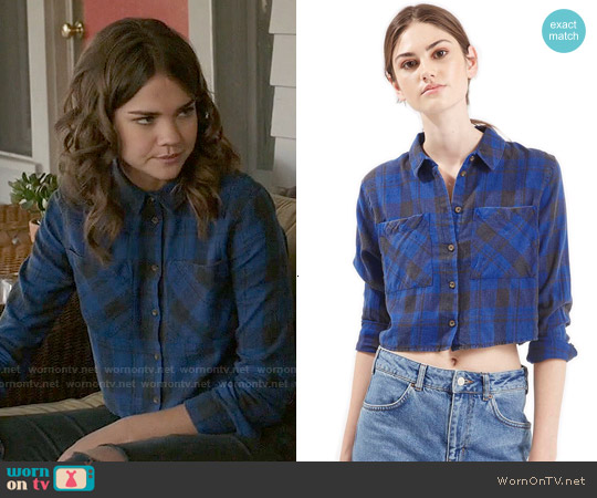 Topshop 'Chloe' Crop Plaid Shirt worn by Maia Mitchell on The Fosters
