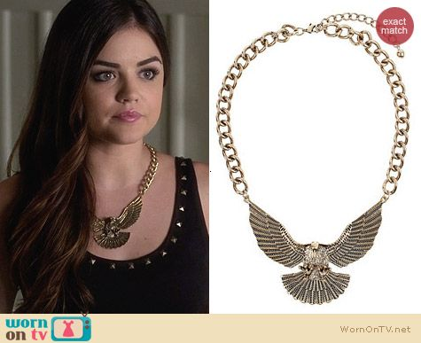 Topshop Chunky Eagle Necklace worn by Lucy Hale on PLL