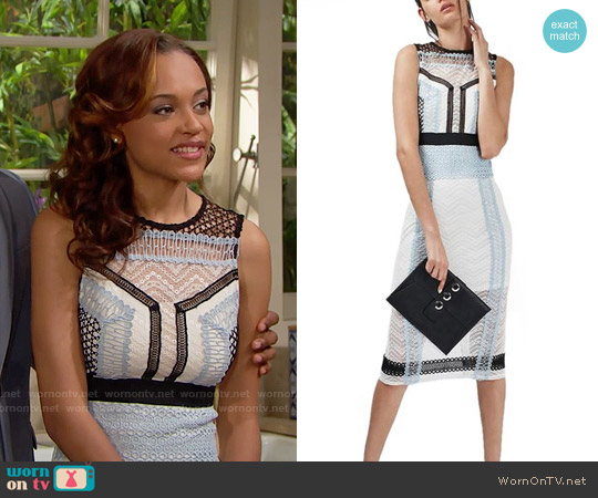 Topshop Colorblock Lace Midi Shift Dress worn by Reign Edwards on The Bold & the Beautiful