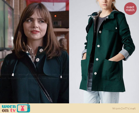 Topshop Contrast Check Lined Mac worn by Jenna Coleman on Doctor Who