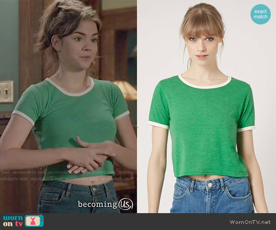Topshop Contrast Tee in Green worn by Maia Mitchell on The Fosters