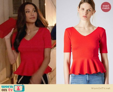 Topshop Crepe Peplum Top worn by Naya Rivera on Glee