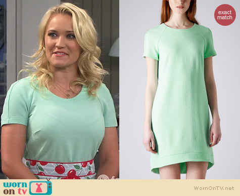 Topshop Crepe Shift Dress in Mint worn by Emily Osment on Young & Hungry