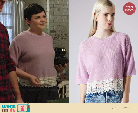 Topshop Crochet Hem Sweater in Lilac worn by Ginnifer Goodwin on OUAT