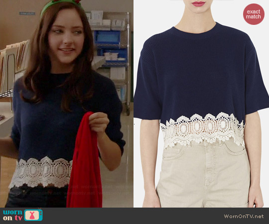 Topshop Crocheted Hem Sweater worn by Haley Ramm on Chasing Life