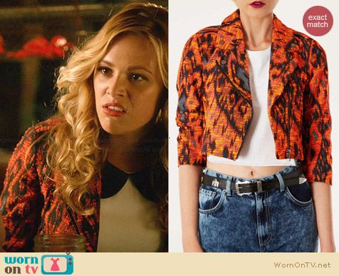 Topshop Cropped Aztec Biker Jacket worn by Natalie Hall on Star-Crossed