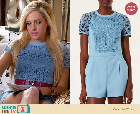 Topshop Cutwork Tshirt Playsuit worn by Carly Chaikin on Suburgatory