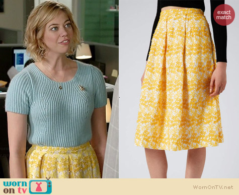 Topshop Daisy Embroidered Midi Skirt worn by Analeigh Tipton on Manhattan Love Story