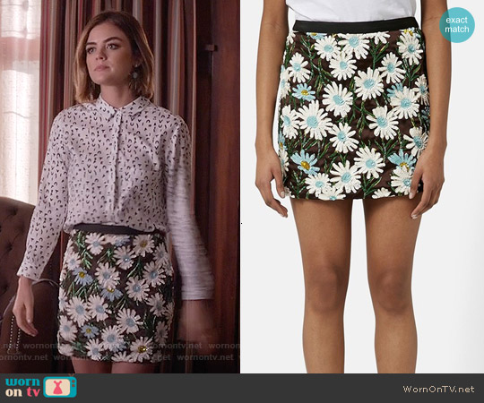 Topshop Daisy Sequin Mini Skirt worn by Lucy Hale on PLL