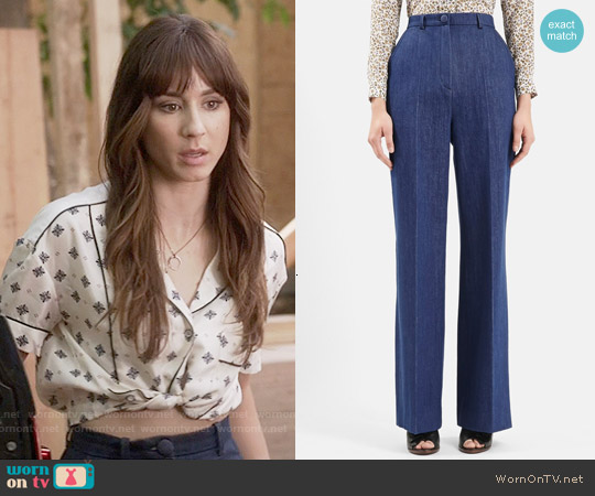 Topshop Unique David Wide Leg Denim Trousers worn by Spencer Hastings on PLL