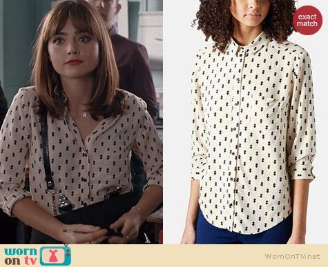 Topshop Diamond Print Shirt worn by Jenna Coleman on Doctor Who