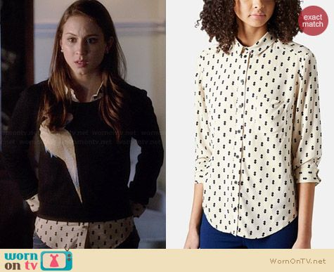 Topshop Diamond Print Shirt worn by Troian Bellisario on PLL