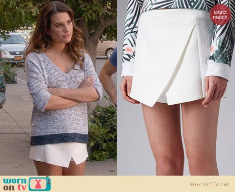 Topshop Diamond Wrap Skort worn by Lea Michele on Glee