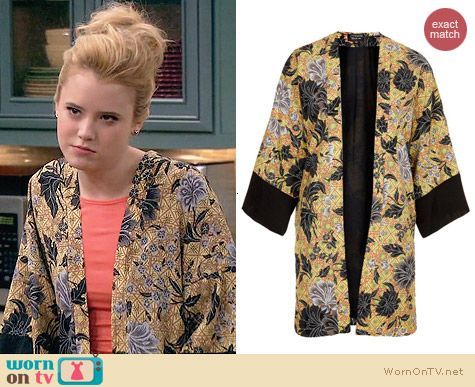 Topshop Dotty Floral Print Kimono worn by Taylor Sprietler on Melissa & Joey