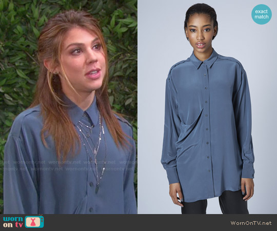Topshop Drape Pocket Silk Shirt worn by Marci Miller on Days of our Lives