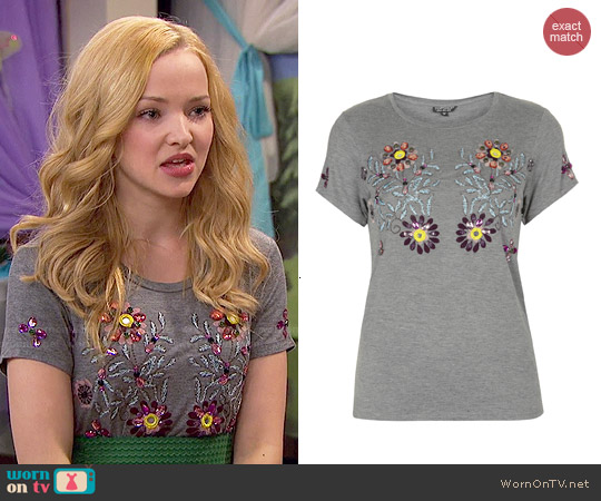 Topshop Embellished Flower Tee worn by Liv Rooney on Liv & Maddie