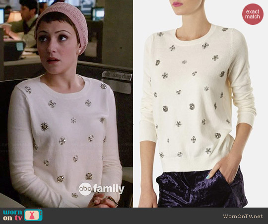 Topshop Embellished Knit Sweater worn by Italia Ricci on Chasing Life