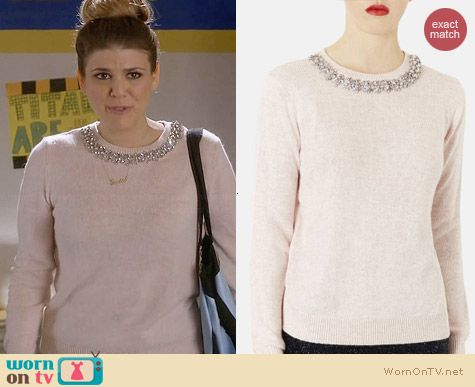 Topshop Embellished Neck Sweater worn by Molly Tarlov on Awkward