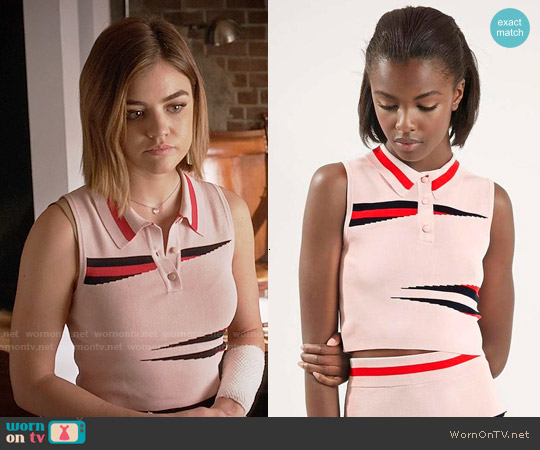 Topshop Eraser Stripe Top worn by Lucy Hale on PLL