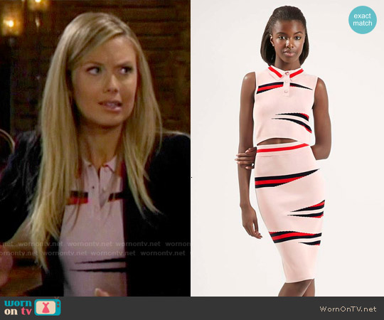 Topshop Pink Eraser Stripe Top and Skirt worn by Melissa Ordway on The Young & the Restless
