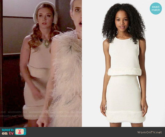 Toshop Faux Fur Hem Shell and Mini Skirt worn by Billie Lourd on Scream Queens