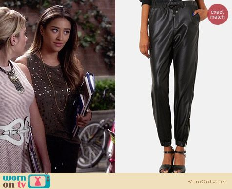 Topshop Faux Leather Track Pants worn by Shay Mitchell on PLL