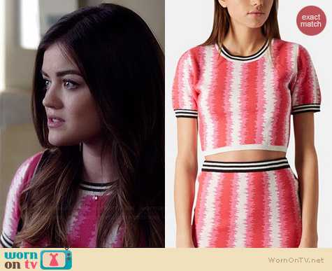 Topshop Felt Tip Knit Crop Sweater worn by Lucy Hale on PLL