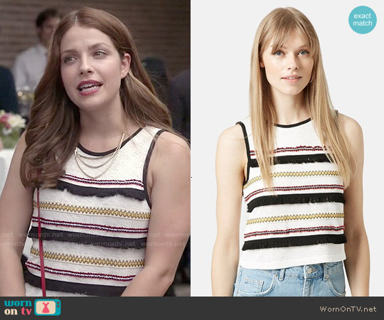 Topshop Festival Fringe Tank worn by Paige Spara on Kevin from Work