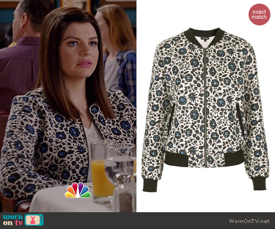 Topshop Floral Bomber Jacket worn by Casey Wilson on Marry Me