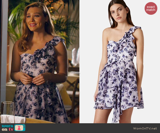 Topshop One-Shoulder Floral Chiffon Dress worn by Kaitlyn Black on Hart of Dixie