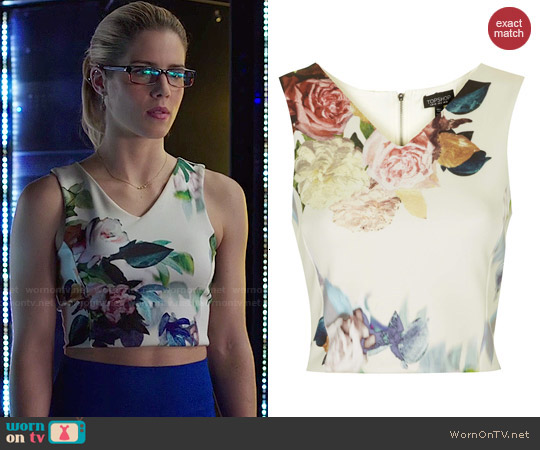 Topshop Floral Crop Top worn by Emily Bett Rickards on Arrow