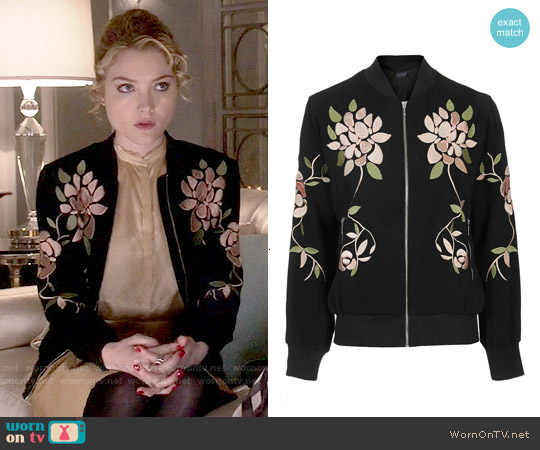 Topshop Floral Embroidered Bomber Jacket worn by Skyler Samuels on Scream Queens