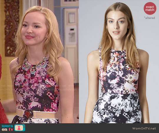 Topshop Floral Print Bodycon Dress worn by Dove Cameron on Liv & Maddie