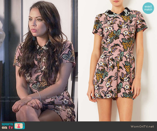 d8b2d01ab5e5 WornOnTV: Mona's pink floral collared playsuit on Pretty Little ...